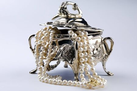Silver jewelery box Stock Photo