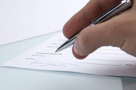 Signing a contract photo
