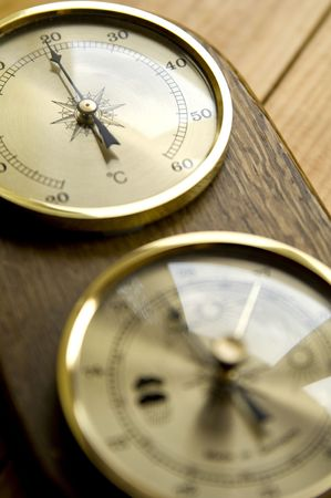 Wooden thermometer Stock Photo