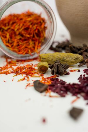 saffron with seeds foreground