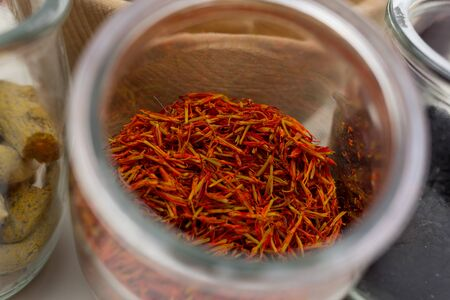 saffron in glass jar