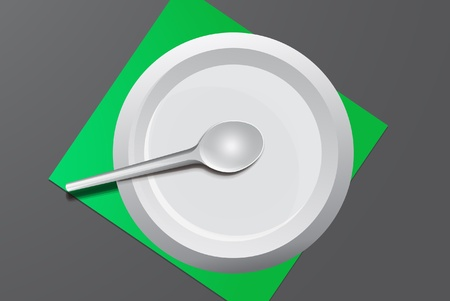papaer: Paper plate with plastic spoon