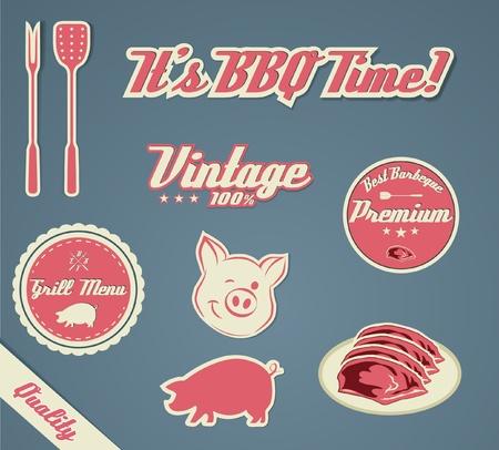 costillas de cerdo: Grill Barecue Vintage Plantilla Vectores