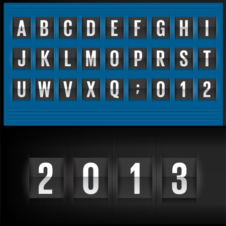 tableau: Set of letters on a blue mechanical timetable. Vector