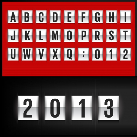 Set of letters on a red mechanical timetable. Vector