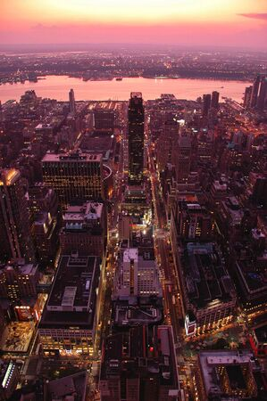 East view of the Manhattan skyline in the time of sunset