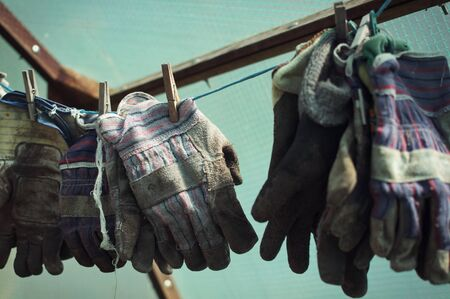 gardening gloves: Side landscape view of gardening gloves, hanged up on a wire.