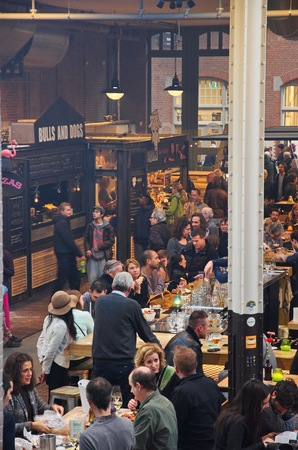 Amsterdam, Netherlands - 21 November, 2015: View of the bulls and dogs stand at the food hall of the De Hallen event hall on the Bellamyplein Editorial