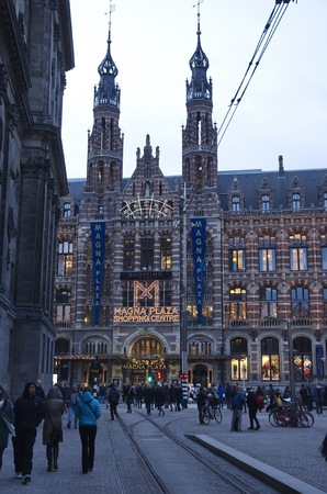 '5 december': Amsterdam, Netherlands - 5 December, 2015: View of the Magna Plaza shopping centre in the center, on the Nieuwezijds Voorburgwal, crowded with Shristmas shoppers. Editorial