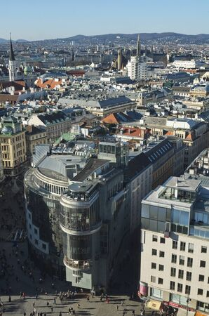 steven: Vienna, Austria - 23 December, 2015: View of the Hotel Vienna and surroundings the St. Steven Cathedral Stephansdom Editorial