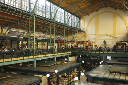 mezzanine: Budapest, Hungary - 13 November, 2015: The mezzanine of the Downtown Market Hall Belvrosi Piac on the Hold street
