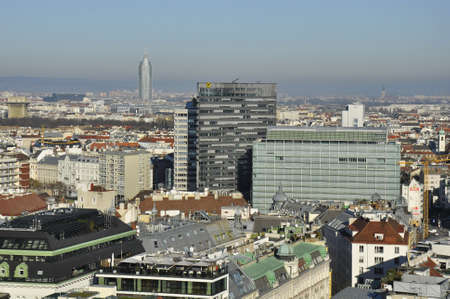 famous industries: Vienna, Austria - 23 December, 2015: Skyline with the Raiffeisen Building and the IBM Building on the Obere Donaustrasse Editorial