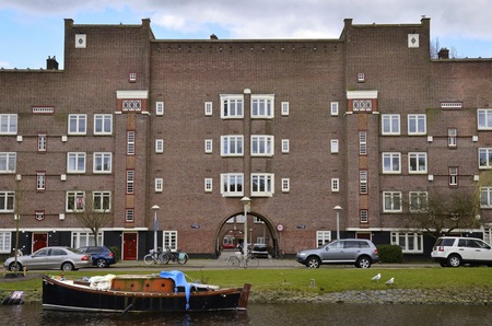 artdeco: Amsterdam, Netherlands - March 27, 2016: An Amsterdam School residential building on the Olympiakade, Oud-Zuid