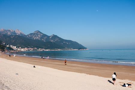 seacoast: seacoast landscape view with tourist Stock Photo