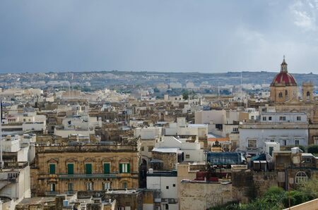 neighboring: Victoria,GOZO -CIRCA OCTOBER, 2015- View over the city of Victoria (Rabat) at Gozo, the neighboring island of Malta Editorial