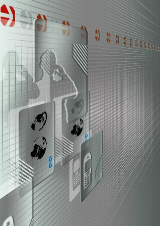 man and global communications icons in a 3d credit card style photo