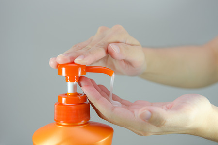 antibacterial soap: Putting shampoo on the hand