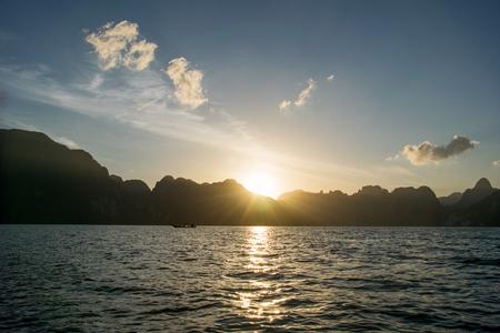 sok: Sun rise behind mountain at Khao Sok National Park, Surat Thani ,Thailand.