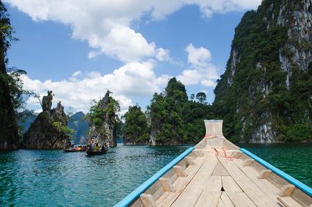 surat: Island water in Ratchaprapha Dam at Khao Sok National Park, Surat Thani Province, Thailand.