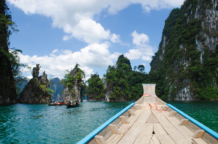 sok: Island water in Ratchaprapha Dam at Khao Sok National Park, Surat Thani Province, Thailand.