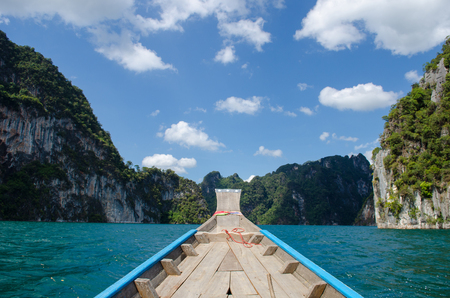 sok: Beautiful mountains and river natural attractions in Ratchaprapha Dam at Khao Sok National Park, Surat Thani Province, Thailand Stock Photo