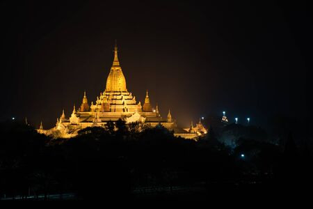 lightup: Ancient Ananda Pagoda before sunrise with lightup, Bagan(Pagan), Mandalay, Myanmar Stock Photo