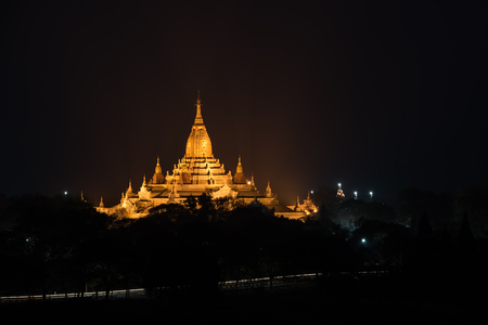 lightup: Ancient Ananda Pagoda before sunrise with lightup, Bagan(Pagan), Mandalay, Myanmar Stock Photo