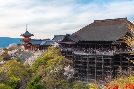 Kiyomizu dera temple and cherry blossom season (Sakura) on spring time in Kyoto, Japan Editorial