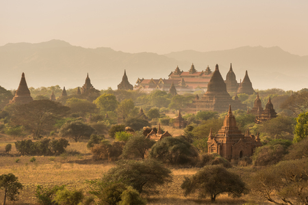 Pagoda landscape the plain of Bagan , Myanmar Stock Photo