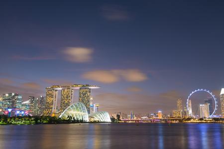 Singapore city skyline and view of Marina Bay at night