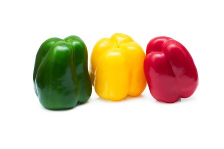 Three colored peppers isolated on white background Stock Photo