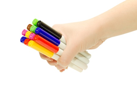Hand holding multicolored markers isolated on white Stock Photo