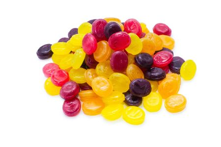 sugarplum: Heap of multicolored Fruit Drops isolated on white