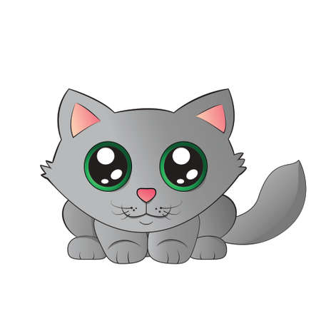 Cute kitty with big eyes ready to jump