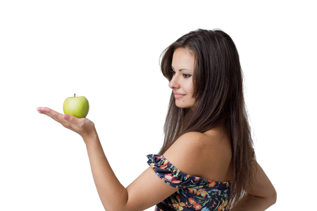 Beautiful girl with apple  Isolated on white background