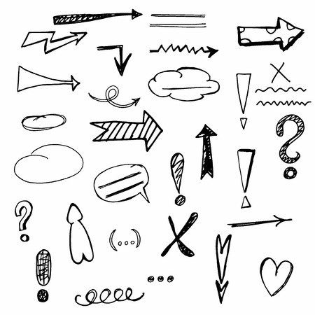 correction: Vector hand drawn arrow and correction set Illustration