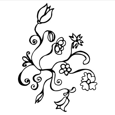 Hand drawn vector illustration flower with curls Illustration