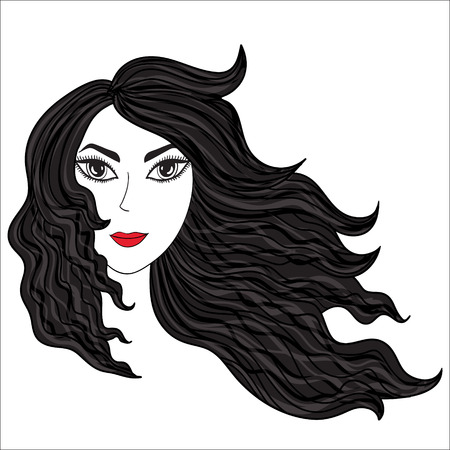 Vector illustration. Girl with windblown hairs.