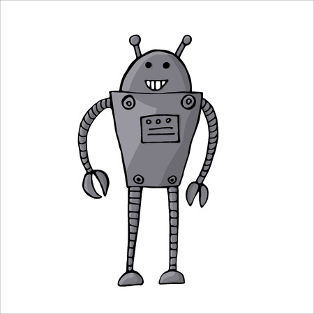 Vector illustration of cartoon robot isolated on white