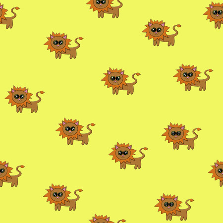 Vector seamless pattern with funny cartoon lions Illustration