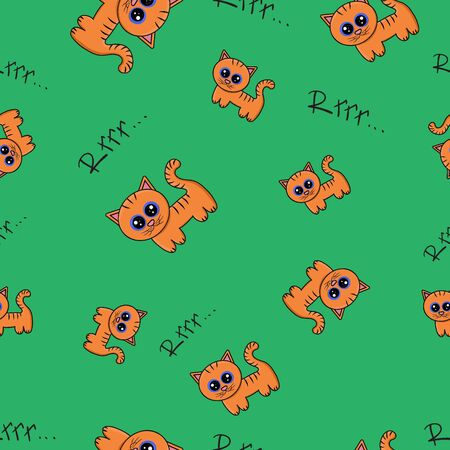Seamless pattern with cute cartoon tiger cubs on green background