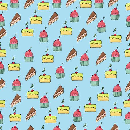 Dessert seamless pattern Stock fotó - 30018204