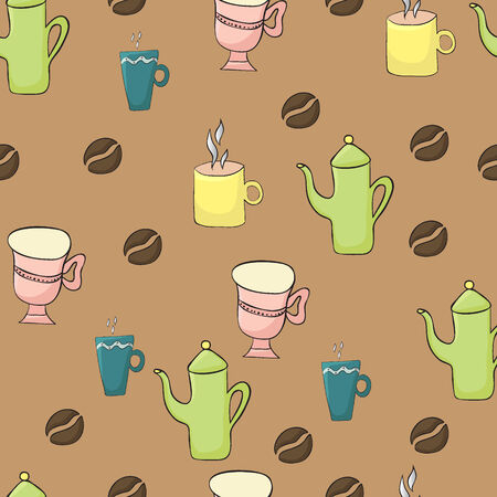 Coffee seamless pattern with cups and teapot Illustration