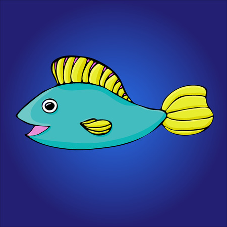 Cartoon fish on the blue background. eps 8