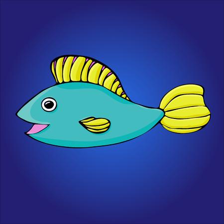 Cartoon fish on the blue background. eps 8
