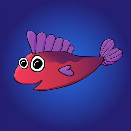 Cartoon fish on the blue background Stock fotó - 30017909