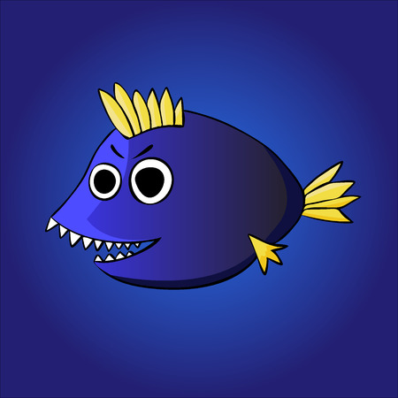 Cartoon fish on the blue background