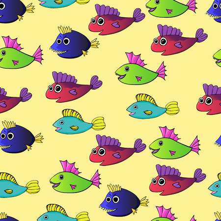 Cartoon fishes seamless pattern. eps 8