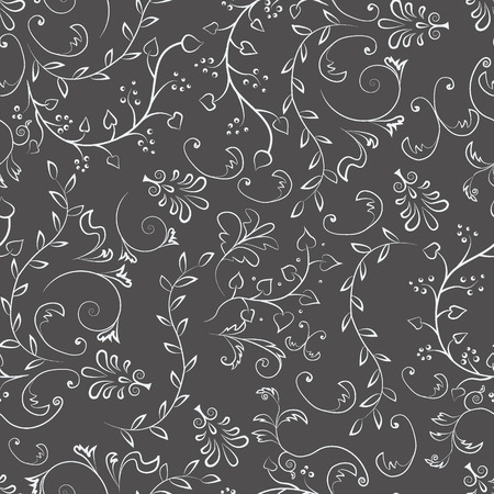 Seamless pattern with floral elements on the grey  background