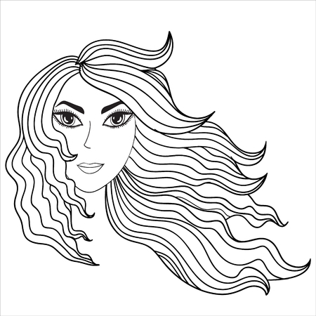 Girl with windblown hair. eps 8